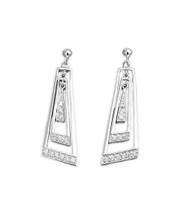 Clear Cubic Zirconia Dangle Trapezoid Earrings Sterling Silver 30MM