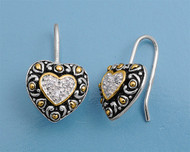 Clear Cubic Zirconia Center Filigree Heart Earrings Sterling Silver 11MM