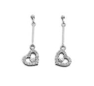 Cubic Zirconia Dangle Double Heart Earrings Sterling Silver 13MM