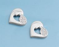 Cubic Zirconia Pretty Heart Earrings Sterling Silver 13MM