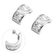 Baguette Cubic Zirconia Fashion Earrings Sterling Silver 22MM