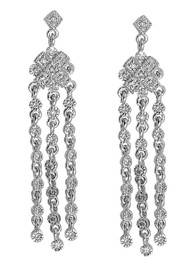 Cubic Zirconia Fashion Earrings Sterling Silver 45MM