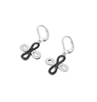 Black And Clear Cubic Zirconia Cross Earrings Sterling Silver 20MM