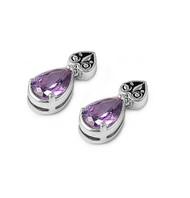 Spade Teardrop Simulated Amethyst Cubic Zirconia Earrings Sterling Silver