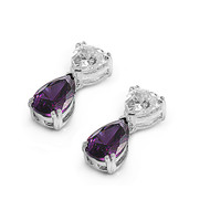 Teardrop Dangle Simulated Amethyst Cubic Zirconia Earrings Sterling Silver