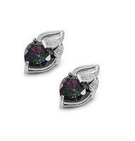 Heart Fusion Rainbow Simulated Topaz Cubic Zirconia Earrings Sterling Silver