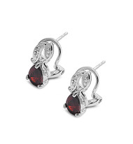 Teardrop Clip Simulated Garnet Cubic Zirconia Earrings Sterling Silver