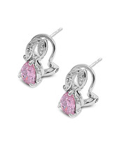 Abstract Teardrop Clip Pink Cubic Zirconia Earrings Sterling Silver
