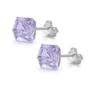 Cube Simulated Crystal Stud Earrings Sterling Silver Lavender