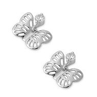 Butterfly Cubic Zirconia Earrings Sterling Silver