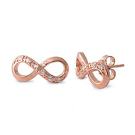 Rose Gold- Tone Plated Infinity Cubic Zirconia Earrings Sterling Silver