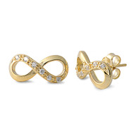 Yellow Gold- Tone Plated Infinity Cubic Zirconia Earrings Sterling Silver