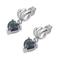 Heart Dangle Rainbow Simulated Topaz Cubic Zirconia Earrings Sterling Silver 20MM