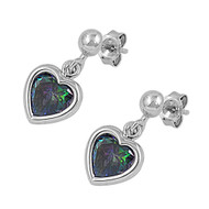 Heart Dangle Rainbow Simulated Topaz Cubic Zirconia Earrings Sterling Silver 18MM
