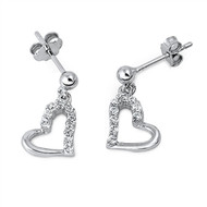Heart Cubic Zirconia Earrings Sterling Silver 11MM
