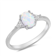 White Simulated Opal Oval Sided By Triangle Stones Cubic Zirconia Ring Sterling Silver 925