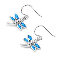 Dragonfly Blue Simulated Opal Earrings Sterling Silver 18MM