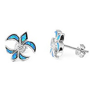 Fleur De Lis Blue Simulated Opal Earrings Sterling Silver 13MM