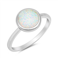 White Simulated Opal Round Solitaire Ring Sterling Silver 925