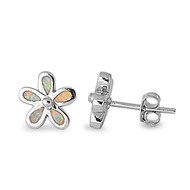 Flower White Simulated Opal Earrings Sterling Silver 9MM
