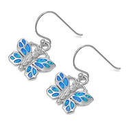 Butterfly Blue Simulated Opal Earrings Sterling Silver 17MM