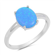 Oval Cut Blue Simulated Opal Solitaire Ring Sterling Silver 925