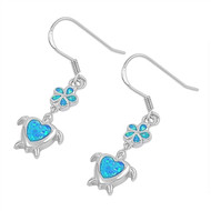 Flower Heart Sea Turtle Blue Simulated Opal Earrings Sterling Silver 30MM