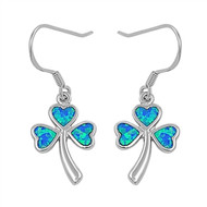 Clover Leaf Heart Blue Simulated Opal Earrings Sterling Silver 20MM