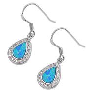 Teardrop Blue Simulated Opal Earrings Sterling Silver 17MM