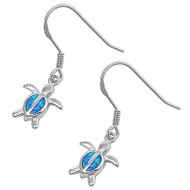 Sea Turtle Blue Simulated Opal Earrings Sterling Silver 17MM