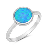 Blue Simulated Opal Round Solitaire Ring Sterling Silver 925