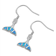 Whale Tail Blue Simulated Opal Earrings Sterling Silver 10MM