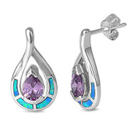 Teardrop Simulated Amethyst Cubic Zirconia Blue Simulated Opal Earrings Sterling Silver 20MM