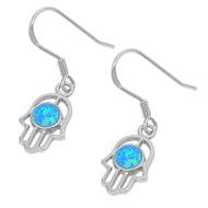 Hamsa Blue Simulated Opal Earrings Sterling Silver 18MM