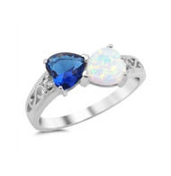 Swirl Two Infinity Hearts White Simulated Opal Blue Simulated Sapphire Cubic Zirconia Ring Sterling Silver 925