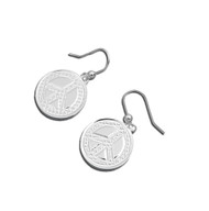 Peace Sign Coin Dangle Earrings Sterling Silver 17MM