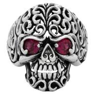 Floral Filigree Skull Ring Sterling Silver 925 Simulated Garnet Red Cubic Zirconia Eyes