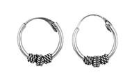 Tribal Artisan 12MMx2MM Bali Hoop Earrings Sterling Silver
