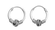 Sterling Silver Tribal Artisan Jewelry 12x2 Bali Hoop Earrings