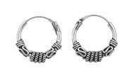 Tribal Artisan Jewelry 15MMx4MM Bali Hoop Earrings Sterling Silver