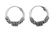 Tribal Artisan Jewelry 15x4 Bali Hoop Earrings Sterling Silver