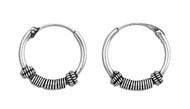 Tribal Artisan 18x3 Bali Hoop Earrings Sterling Silver