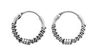 Tribal Artisan Jewelry 17x2 Bali Hoop Earrings Sterling Silver