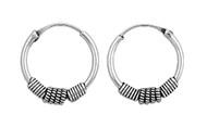 Tribal Artisan 18x4 Bali Hoop Earrings Sterling Silver