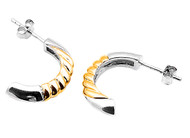 Two Toned Fashion Designer Earrings Sterling Silver 20MM