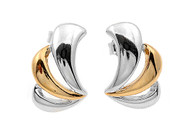 Two Toned Fashion Designer Earrings Sterling Silver 17MM