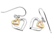 Two Toned Fashion Designer Heart Earrings Sterling Silver 13MM