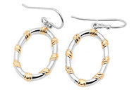 Two Toned Fashion Designer Round Earrings Sterling Silver 23MM