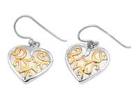 Two Toned Fashion Designer Heart Earrings Sterling Silver 15MM