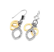 Two Toned Fashion Designer Earrings Sterling Silver 33MM